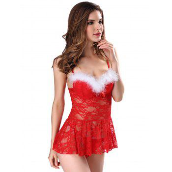 Underwire Fuzzy Lace Babydoll - RED L