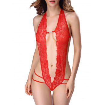 Backless Halter Cut Out Lace Teddy