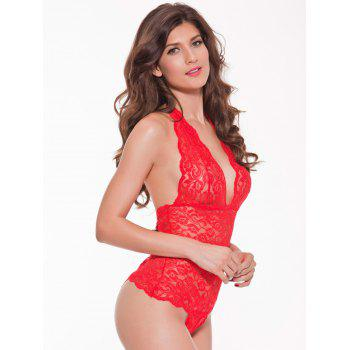 Halter Open Back Lace Teddy - M M