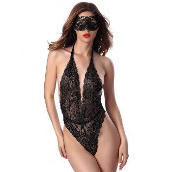 Sheer Halter Low Cut Open Back Lace Teddy - BLACK ONE SIZE