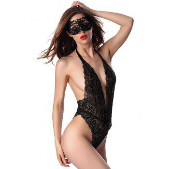 Sheer Halter Low Cut Open Back Lace Teddy - ONE SIZE ONE SIZE