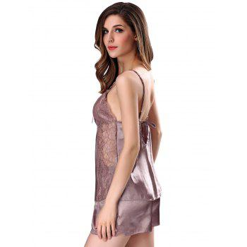 Lace Insert Cami Summer Pajamas Set - PALE PINKISH GREY 2XL