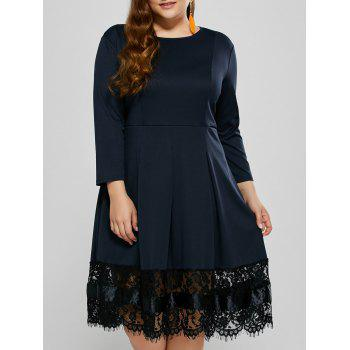 Plus Size Ruched Lace Trim Long Sleeve Dress
