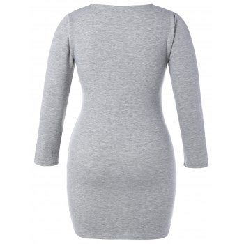 Plus Size Long Sleeve Mini T-Shirt Dress - GRAY XL