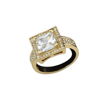 Adjustable Rhinestone Square Ring