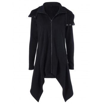 Zipper Up Asymmetrical Hooded Coat