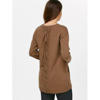 Drop Shoulder Lace-Up Sweater