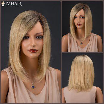 Inclined Parting Medium Colormix Silky Straight Siv Human Hair Wig