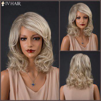 Colormix Medium Inclined Parting Shaggy Curly Siv Human Hair Wig
