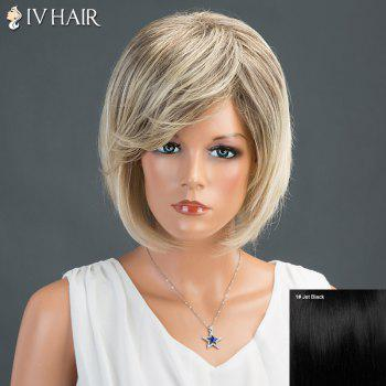 Oblique Bang Layered Short Straight Bob Siv Human Hair Wig