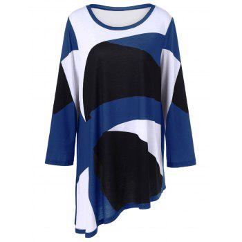 Plus Size Abstract Print Asymmetrical T-Shirt - BLUE XL