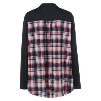 Plus Size Split-Neck Plaid Trim Blouse - 5XL 5XL