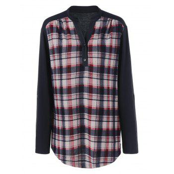 Plus Size Split-Neck Plaid Trim Blouse - BLACK BLACK
