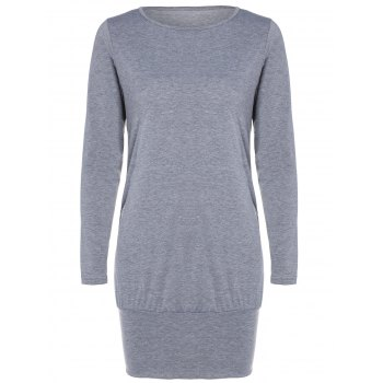 Drop Waist Long Sleeve T-Shirt Dress