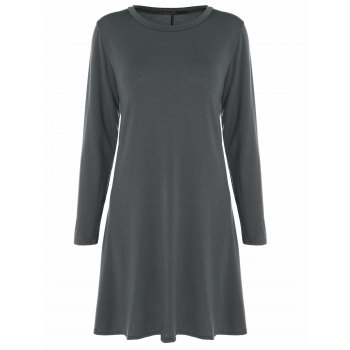 Long Sleeve Plain Swing Dress