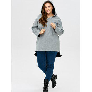 Plus Size High Low Pullover Hoodie - 2XL 2XL