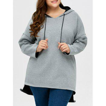 Plus Size High Low Pullover Hoodie - LIGHT GREY 2XL