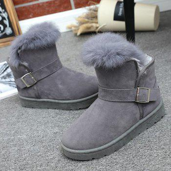 Suede Buckle Faux Fur Snow Boots - GRAY GRAY