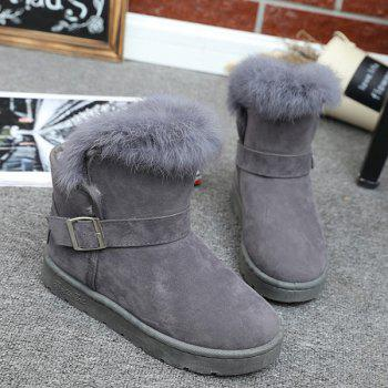 Suede Buckle Faux Fur Snow Boots - GRAY 39
