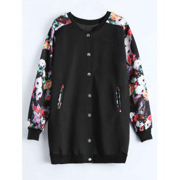 Plus Size Floral Printed Long Bomber Coat