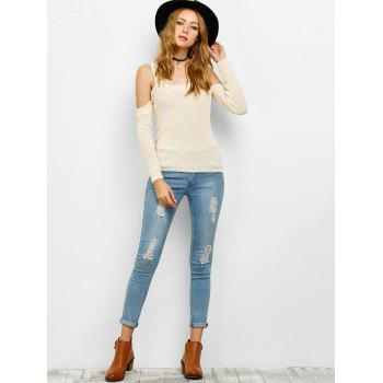 Chunky Cold Shoulder Loose Sweater - OFF WHITE M