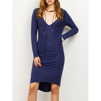 High-Low Ruched Plunging Neck Pencil Dress