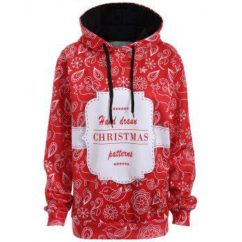 Plus Size Christmas Kangaroo Pocket Hoodie - RED 2XL