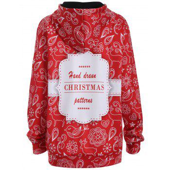 Plus Size Christmas Kangaroo Pocket Hoodie - L L