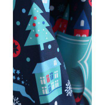 Plus Size Merry Christmas Kangaroo Pocket Patterned Hoodies - DEEP BLUE DEEP BLUE