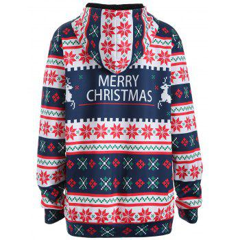 Plus Size Merry Christmas Snowflake Patterned Hoodies - 2XL 2XL