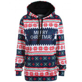 Plus Size Merry Christmas Snowflake Patterned Hoodies - PURPLISH BLUE L