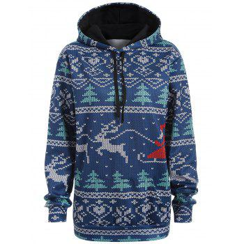Plus Size Christmas Drawstring Kangaroo Pocket Patterned Hoodies - NAVY BLUE 3XL