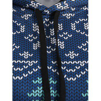 Plus Size Christmas Drawstring Kangaroo Pocket Patterned Hoodies - NAVY BLUE 2XL