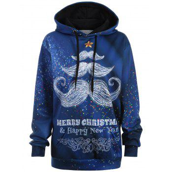 Plus Size Merry Christmas Mustache Hoodie - BLUE 2XL