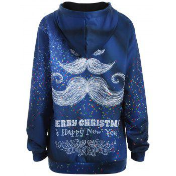 Plus Size Merry Christmas Mustache Hoodie - XL XL