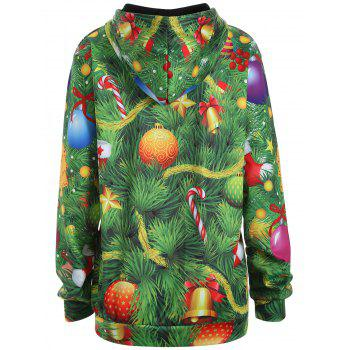 Plus Size Santa Claus Christmas Drawstring Patterned Hoodies - 3XL 3XL
