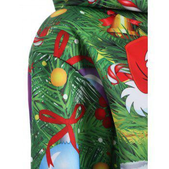 Plus Size Santa Claus Christmas Drawstring Patterned Hoodies - GRASS GREEN GRASS GREEN