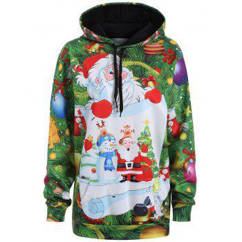 Plus Size Santa Claus Christmas Drawstring Patterned Hoodies - GRASS GREEN L