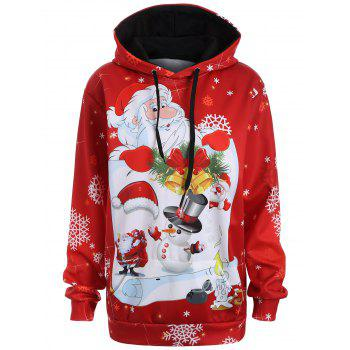 Plus Size Snowman Kangaroo Pocket Christmas Patterned Hoodies - RED 2XL