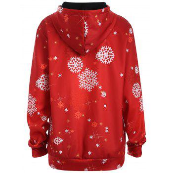 Plus Size Snowman Kangaroo Pocket Christmas Patterned Hoodies - L L