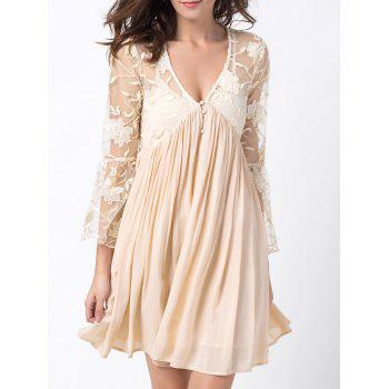 Plunging Neck Flare Sleeve Lace Panel Dress