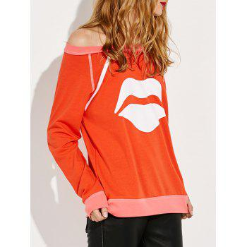 Off Shoulder Lips Print Sweatshirt