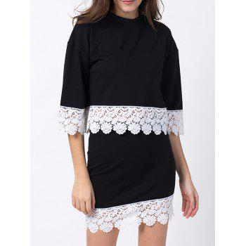Crew Neck Lace Panel T-Shirt with Skirt - BLACK BLACK
