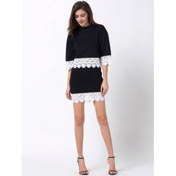 Crew Neck Lace Panel T-Shirt with Skirt - BLACK XS