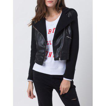 Hooded PU Leather Front Biker Jacket - BLACK BLACK