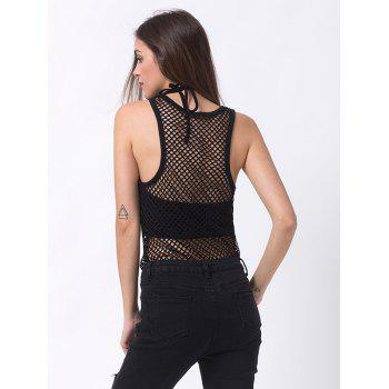Fishnet Tank Top - BLACK BLACK