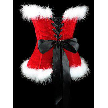 Lace Up Corset Top For Christmas - RED/WHITE L
