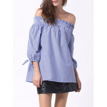 Smocked Off The Shoulder Striped Blouse