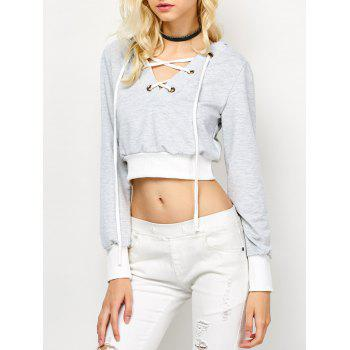 Casual Lace Up Cropped Hoodie