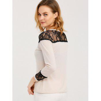 Long Sleeve T Shirt With Lace Trim - APRICOT APRICOT